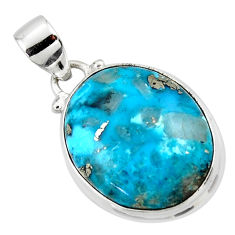 12.40cts natural blue persian turquoise pyrite 925 silver pendant jewelry r49315