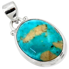 11.20cts natural blue persian turquoise pyrite 925 silver pendant jewelry r49321