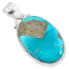 10.65cts natural blue persian turquoise pyrite 925 silver pendant jewelry r51227