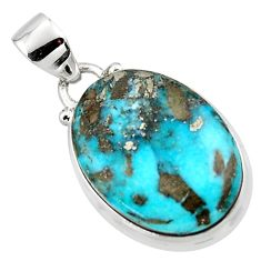 13.73cts natural blue persian turquoise pyrite 925 silver pendant r49305