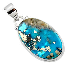 12.68cts natural blue persian turquoise pyrite 925 silver pendant r49312