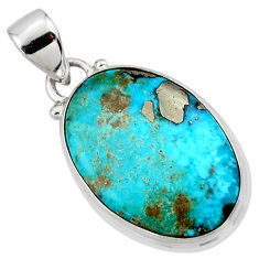 11.73cts natural blue persian turquoise pyrite 925 silver pendant r49326