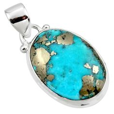 11.73cts natural blue persian turquoise pyrite 925 silver pendant r49332