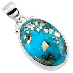 11.40cts natural blue persian turquoise pyrite 925 silver pendant r49342