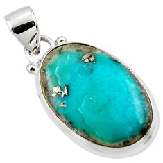 11.73cts natural blue persian turquoise pyrite 925 silver pendant r49352