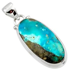 11.15cts natural blue persian turquoise pyrite 925 silver pendant r49354