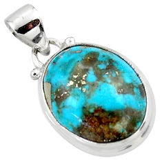 10.08cts natural blue persian turquoise pyrite 925 silver pendant r49379