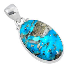 10.65cts natural blue persian turquoise pyrite 925 silver pendant r63497