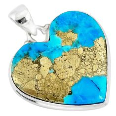 20.62cts natural blue persian turquoise pyrite 925 silver pendant r83265