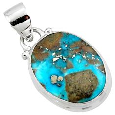 9.72cts natural blue persian turquoise pyrite 925 sterling silver pendant r49363
