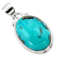 9.72cts natural blue persian turquoise pyrite 925 sterling silver pendant r49372