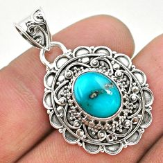 4.13cts natural blue persian turquoise pyrite 925 sterling silver pendant t32649