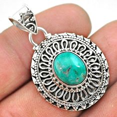 4.39cts natural blue persian turquoise pyrite 925 sterling silver pendant t32651