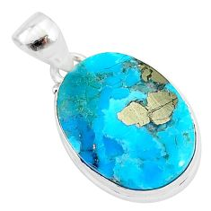11.73cts natural blue persian turquoise pyrite 925 sterling silver pendant t4143