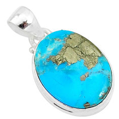 11.73cts natural blue persian turquoise pyrite 925 sterling silver pendant t4145
