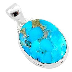 11.73cts natural blue persian turquoise pyrite 925 sterling silver pendant t4149