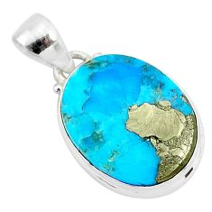 11.57cts natural blue persian turquoise pyrite 925 sterling silver pendant t4151