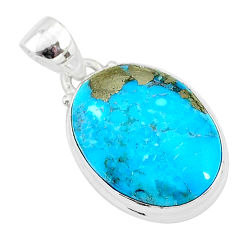 11.20cts natural blue persian turquoise pyrite 925 sterling silver pendant t4152