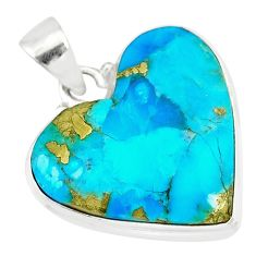 15.08cts natural blue persian turquoise pyrite heart 925 silver pendant r83253