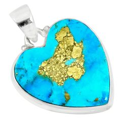 14.23cts natural blue persian turquoise pyrite heart 925 silver pendant r83254