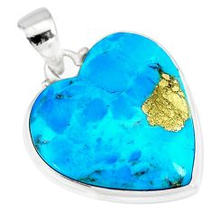16.73cts natural blue persian turquoise pyrite heart 925 silver pendant r83256