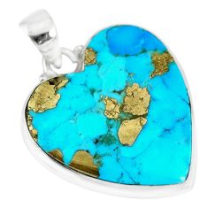 14.72cts natural blue persian turquoise pyrite heart 925 silver pendant r83270