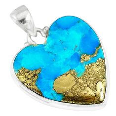 18.15cts natural blue persian turquoise pyrite heart 925 silver pendant r83275