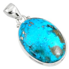 15.65cts natural blue persian turquoise pyrite oval 925 silver pendant r62792