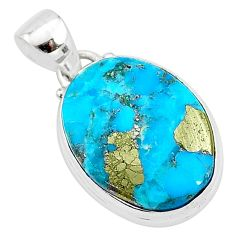 12.22cts natural blue persian turquoise pyrite oval 925 silver pendant t4147