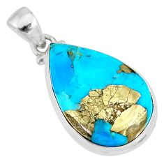 15.08cts natural blue persian turquoise pyrite pear 925 silver pendant r83445