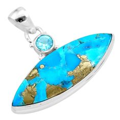 17.18cts natural blue persian turquoise pyrite topaz 925 silver pendant t28501