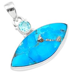16.20cts natural blue persian turquoise pyrite topaz 925 silver pendant t28567
