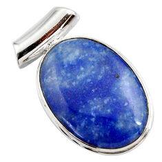 17.22cts natural blue quartz palm stone 925 sterling silver pendant r27761