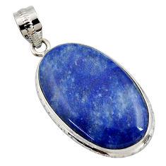 17.57cts natural blue quartz palm stone 925 sterling silver pendant r27764