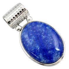18.70cts natural blue quartz palm stone 925 sterling silver pendant r27885