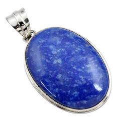 18.68cts natural blue quartz palm stone 925 sterling silver pendant r27888