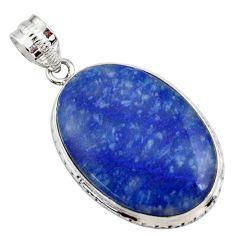 19.23cts natural blue quartz palm stone 925 sterling silver pendant r27894