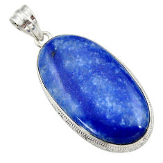 28.73cts natural blue quartz palm stone 925 sterling silver pendant r30617