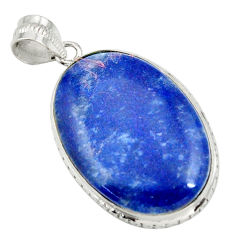 25.60cts natural blue quartz palm stone 925 sterling silver pendant r32021
