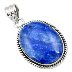 25.57cts natural blue quartz palm stone 925 sterling silver pendant r32022