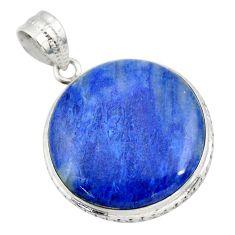 21.97cts natural blue quartz palm stone 925 sterling silver pendant r32027
