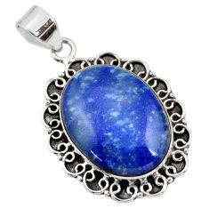 21.26cts natural blue quartz palm stone 925 sterling silver pendant r32031