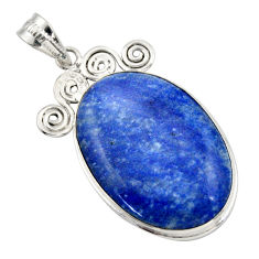 25.00cts natural blue quartz palm stone 925 sterling silver pendant r32035