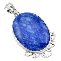 23.92cts natural blue quartz palm stone 925 sterling silver pendant r32037