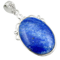 24.00cts natural blue quartz palm stone 925 sterling silver pendant r32038