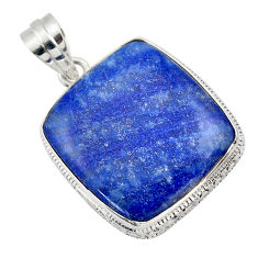 25.00cts natural blue quartz palm stone 925 sterling silver pendant r32040