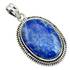 20.86cts natural blue quartz palm stone 925 sterling silver pendant r32235