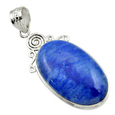 24.38cts natural blue quartz palm stone 925 sterling silver pendant r32236