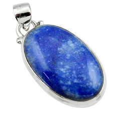 14.35cts natural blue quartz palm stone 925 sterling silver pendant r46163