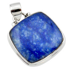 15.55cts natural blue quartz palm stone 925 sterling silver pendant r46165